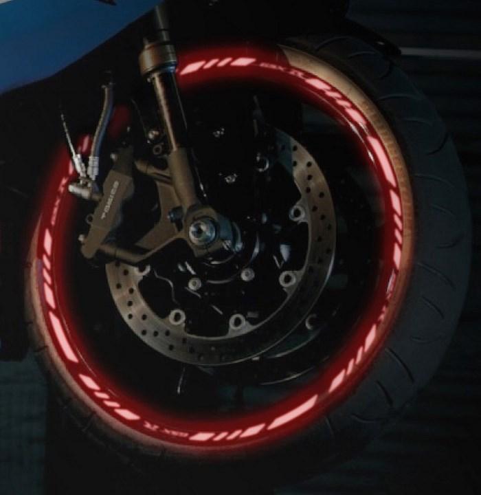 Red wheel rim tape